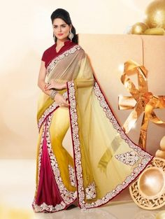 Yellow And Maroon Net Saree With Resham Embroidery Work