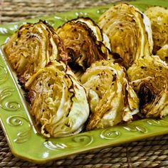 Recipe for Roasted Cabbage with Lemon; this is one of the most popular recipes on my site, and it's a great side dish for fall and winter. [from KalynsKitchen.com] #LowCarb #GlutenFree #DeliciouslyHealthyLowCarb