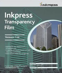 Inkpress Transparency Film, with endorsement by Dan Burkholder. Also contains useful information about settings for Canon Pixma inkjet printer.