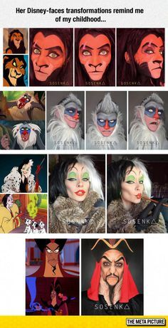 Disney Character Cosplay Her Disney-faces transformations remind me of my childhood - More memes, funny videos and pics on Halloween Cosplay, Halloween Make Up, Halloween Costumes, Halloween Face Makeup, Disney Character Makeup, Disney Makeup, Disney Cosplay, Cosplay Makeup, Costume Makeup