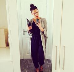 Black Joggers with Black Shirt and Grey or Beige Cardigan