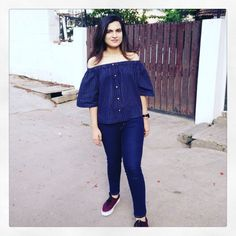 The Closet Label Life Off-shoulder top with denims and vans
