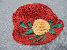 Flor tejida con hilo de algodón para la gorra de niña