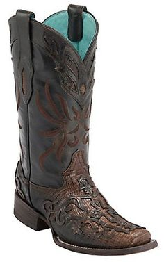 Corral Ladies Cognac Teju Lizard with Leather Lace Overlay Square Toe Exotic Western Boots