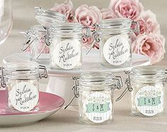 Personalized Glass Favor Jars - Rustic Bridal Shower Collection (Set of warm and inviting personality is on display at your elegant, vintage bridal shower, so your guests' thank-you gifts should be no different. Featuring two flower-encruste Wedding Favour Jars, Wedding Bottles, Wedding Shower Favors, Bridal Shower Tea, Rustic Wedding Favors, Bridal Shower Rustic, Bridal Showers, Wedding Ideas, Wedding Reception
