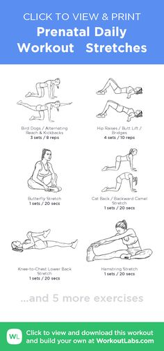 Prenatal Daily Workout   Stretches –click to view and print this illustrated exercise plan created with #WorkoutLabsFit