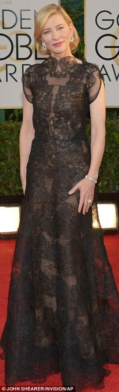 Lady in black: Cate Blanchett in her stunning lace Armani backless gown at the Golden Globes