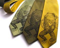 Pretentious Frog Animal Necktie  Screen by ScatterbrainTies.