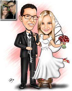 Caricaturas digitais, desenhos animados, ilustração, caricatura realista: Desenho de casal de noivos !!