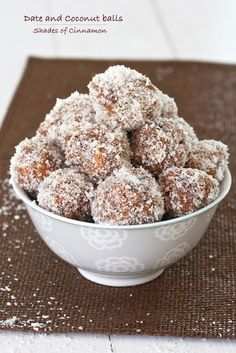 Date balls rolled in coconut. One of my all time favorite treats Baking Recipes, Snack Recipes, Dessert Recipes, Cookie Recipes, Raw Recipes, Retro Recipes, Healthy Recipes, Oven Recipes, Dessert Ideas