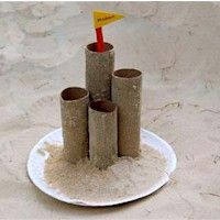 5 Beach Arts and Crafts for Kids Paper Towel roll Sand Castle for our beach theme (Munchkin Junction preschool) Beach Crafts For Kids, Ocean Crafts, Summer Crafts For Kids, Sand Crafts, Beach Kids, Towel Crafts, Kids Crafts, Summer Daycare, Kids Sand