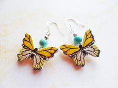 Silver butterfly earrings with wood charms, yellow or orange, silver hooks, Selma Dreams, nature inspired jewellery, jewelry gifts for her by SelmaDreams on Etsy