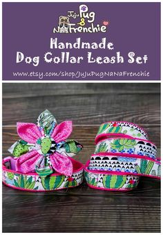 Succulent Cactus dog collar set, Flower dog collar #Dotdog #dogaccessories #dogleash #dogcollar #dogflower Girl Dog Collars, Dog Collars & Leashes, Big Dog Little Dog, Flower Dog, Handmade Dog Collars, Pink Dog, Girl And Dog, Collar And Leash, Dog Harness