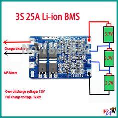 Купить товар3 S 25A пик 11.1 В li ion DIY BMS PCM защиты аккумулятора доска bms pcm для литий Limn2O4 LicoO2 батареи в категории Интегральные схемына AliExpress. 3 S 25A пик 11.1 В li-ion DIY BMS PCM защиты аккумулятора доска bms pcm для литий Limn2O4 LicoO2 батареи Arduino Projects, Electronics Projects, Diy Tech, Charger, Solar, Technology, Symbols, Storage, Shopping
