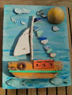 Sail away with me. Sea side art design by Philippa Komercharo. Seashell Crafts, Beach Crafts, Summer Crafts, Pebble Painting, Pebble Art, Painting On Wood, Painted Driftwood, Driftwood Art, Rock Crafts