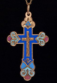 Antique Russian Enameled Gold Cross Pendant | From a unique collection of vintage drop necklaces at http://www.1stdibs.com/jewelry/necklaces/drop-necklaces/