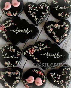 Floral Black Valentines Day Cookies - mintlemonade-2