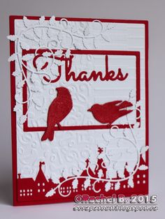 Scrapatout - Handmade Thanks card. Impression Obsession dies, Darice embossing folder.