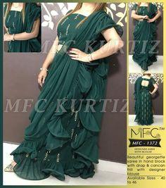 Party Wear Sarees Online, Silk Sarees Online, Kurti Designs Party Wear, Kurta Designs, Stylish Dresses For Girls, Girls Dresses, Netted Blouse Designs, Punjabi Suits Designer Boutique, Raw Silk Saree