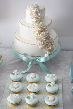 gorgeous - gold and tiffany blue sweet table
