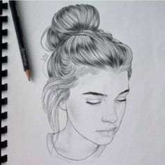 Fashion Drawing Sketches Illustration Hair Ideas For 2019 Pencil Art Drawings, Love Drawings, Art Drawings Sketches, Drawing Designs, Portrait Sketches, Pencil Portrait, Hair Sketch, Portraits, Quick Sketch