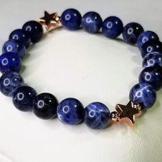 Sodalite Mini Star Charm Bracelet with Rose Gold, Blue Crystal Bracelet for Confidence and Self Esteem, Gemstone Bracelets, Gemstone Jewelry, Blue Crystals, Royal Blue, My Etsy Shop, Rose Gold, Charmed, Gemstones, Star