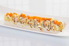 Alaskan Crispy($8.95) - Salmon, cream cheese deep fried topped w/tobiko, eel & wasabi mayo sauce