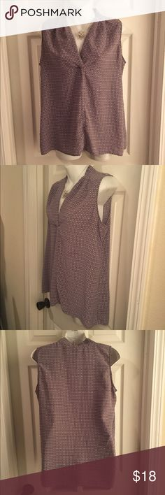 """MAX STUDIO 100% Silk Sleeveless Blouse Shell Large Super-soft 100% silk sleeveless blouse by MAX STUDIO. Beautiful purple print. Size Large. Measures 20"""" pit-to-pit. Excellent condition - no flaws to note. Max Studio Tops Blouses"""