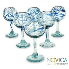 Handmade Set of 6 Blown Glass 'Blue Ribbon' Wine Glasses (Mexico) | Overstock.com Shopping - The Best Deals on Wine Glasses