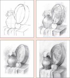 этапы работы над натюрмортом в карандаше - Поиск в Google