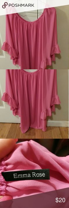 Ruffle 3/4 sleeve pink blouse You will love this shirt!flowy fit Emma rose  Tops Blouses