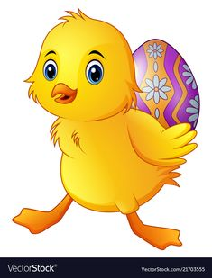 Cute little duck carrying a decorated egg vector image on VectorStock Easter Gifts For Kids, Easter Crafts, Easter Egg Pictures, Easter Paintings, Egg Vector, Cartoon Birds, Cute Blankets, Little Duck, Easter Parade
