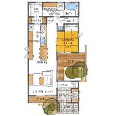 清家修吾さんはInstagramを利用しています:「. 【ボツプラン545】 土地に合わせて家が斜めに配置してあって、中庭もあって、回遊できて、楽しそうな間取りですね。 広めのポーチや広めのWICもいい感じやと思います。 ただ、外観が普通で面白味に欠けます。…」 Japanese Kitchen, Japanese Architecture, Small Studio, My Dream Home, Home Projects, House Plans, Porch, Kids Room, Deck