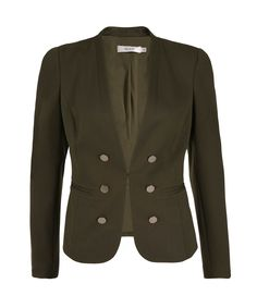 Ricki's Military Ponte Blazer, Soft Olive - purchased, buttons removed