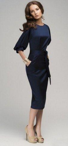 3f7690e30c Lantern Sleeve Blue Jeans Dresses European Woman Office Work Wear Prom  Dresses With Belt. Navy Dress ...