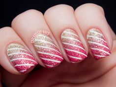Wonderful Gradient Pink To Gold Glitter Nail Art Design Idea With Elegant White Stripes Motif Using Tape - #prom pink Nail Art Tape