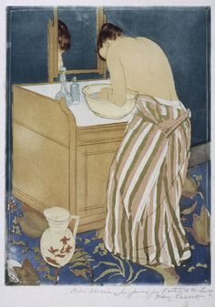 Woman Bathing, 1890–91  Mary Cassatt (American, 1844–1926)  Drypoint and aquatint, printed in color, state v/v  Plate: 14 5/16 x 10 9/16 in. (36.4 x 26.8 cm)