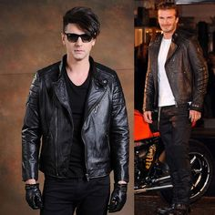 Designer Men Black Leather Fitted Fashion Bomber Jacket Clothing SKU-116222