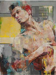 Andrew Salgado - THE PAINTER'S APPRENTICE - oil on canvas with spray - 200x300cm, two panels (Left panel)