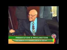 Councilman Bill Rosendahl speaks about Phoenix Houses of California Director Pouria Abbassi at Los Angeles City Council