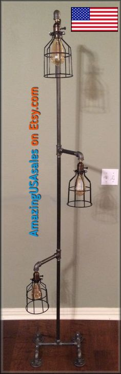 Industrial Floor Lamp Steampunk Edison Light. $249.00