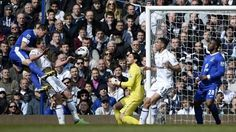 7 April 2013 Phil Jagielka rises at the far post to head home a Leighton Baines corner away to Spurs