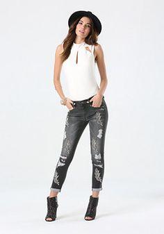 Hematite Embellished Jeans from Bebe R1490,00