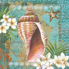 Shells and Plumeria I (Elena Vladykina) Decoupage Vintage, Decoupage Paper, Vintage Art, Ocean Themes, Beach Themes, Ocean Pictures, Seashell Art, Sea Art, Coastal Art