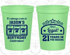 21st Birthday Party Cups, Cheap Birthday Favor Cups, Vegas Birthday Cups, Finally 21 Cups, Casino Birthday Cups, Birthday Party Cups (20061)