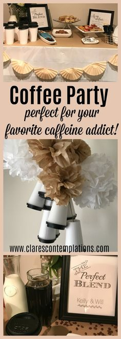 Coffee Party-such a cute bachelorette party or shower theme! I'm *obsessed* with that coffee cup chandelier! Coffee Party-such a cute bachelorette party or shower theme! I'm *obsessed* with that coffee cup chandelier! Coffee Themed Party, Coffee Bar Party, Coffee Bar Wedding, Bachelorette Party Themes, Bachlorette Party, Coffee Bridal Shower, Brunch Bar, Party Planning, Party Time