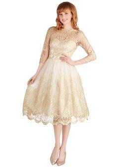 Hold VP: Gilded Grace Dress in Champagne   Mod Retro Vintage Dresses   ModCloth.com