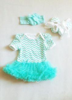 Green Chevron Baby Girl Onesie Romper Set, chevron Peplum onesie, Green headband & a pair of chevron shoes, Newborn- 12 months
