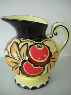 Czech Art Deco Pottery Ditmar Urbach Hand Painted by BirkyVintage, $89.00