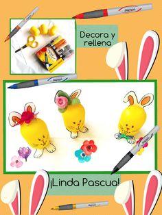 Lindos conejitos para Pascua decorados con marcadores Azor. #ideas #maestros  #manualidades #crafts  #pascua